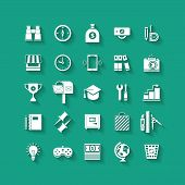 White flat icons set with long shadows. Business object, office tools. Marketing, social, creative s