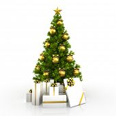 Christmas tree with gold decor isolated on white background