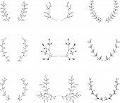 Hand-drawn branches brackets graphic design elements set