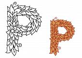 Uppercase letter P in a foliate font