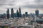 LONDON - 09 JUNE 2013: Panorama View of Various Famous Tallest Architectural Landmarks in London England. Captured on Stormy Sky Backgroundon 09 June 2013.