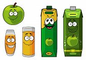 Fresh cartoon apple with apple juice