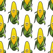 Seamless pattern of cartoon corn on the cob