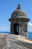 image of san juan puerto rico  - Tower at the Castillo de San Cristobal in Old San Juan Puerto Rico - JPG