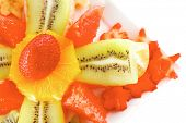 raw tropical fruits served on white plate