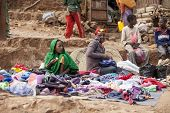 ADDIS ABABA, ETHIOPIA-NOVEMBER 1, 2014: Unidentified sellers ply their wares at a street market in Addis Ababa, Ethiopia