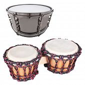 The image of ethnic african drum under the white background