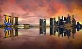 picture of singapore night  - View of Singapore city skyline at sunset - JPG