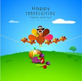 Happy Thanksgiving Day celebrations concept happy turkey bird family, vegetables and fruits on nature background.