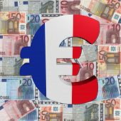 Euro symbol with French flag on Euro currency illustration