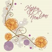 Beautiful greeting card decorated with floral design for Happy New Year celebrations.