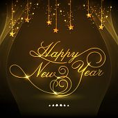 Elegant greeting card design decorated with golden text Happy New Year and hanging stars on shiny brown background.