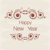 Stylish text on floral decorated beige background for Happy New Year 2015 celebrations.