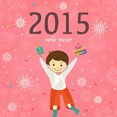 Happy New Year 2015 celebration concept with cute little boy holding gifts on snowflake decorated pink background.