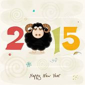 Colorful text with black sheep on stylish beige background for Happy New Year celebrations.