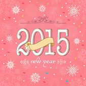 Stylish text 2015 with ribbon on snowflakes decorated pink background, can be used us poster, banner, greeting card or flyer.