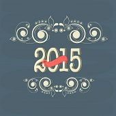 Stylish text on floral decorated blue background for Happy New Year 2015 celebrations.