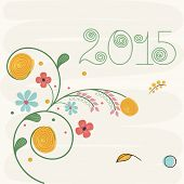 Happy New Year 2015 poster, banner or greeting card decorated with floral design.