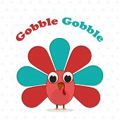 Happy Thanksgiving Day celebrations greeting card design with turkey bird and text Gobble Gobble on grey background.