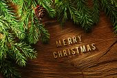 Evergreen tree background with Merry Christmas letters