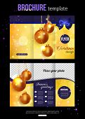 Christmas trifold brochure template. Abstract flyer design with xmas blue bow, golden balls, blurred