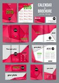 Set of corporate business stationery templates. Abstract brochure and 2015 calendar design.