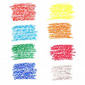 Set of colored spots of wax crayons isolated on white background