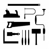 Carpenter tools. Black silhouette vector illustration.
