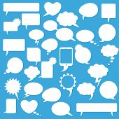 Speech Bubbles Set Blue Background