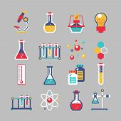 image of experiments  - Chemistry decorative icons set with chemical lab scientific experiment equipment isolated vector illustration - JPG