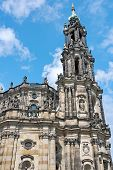 Cathedral In Dresden On A Blue Sky Background. Germany.