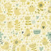 Cute funny chicken in flowers. Bright summer romantic background in vector. Seamless pattern can be used for wallpapers, pattern fills, web page backgrounds, surface textures