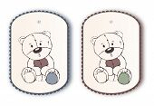 Cute Label Tags With Teddy Bear Sketch