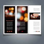 Vector tri-fold flyer or brochure template with bokeh background. Abstract modern trendy design.
