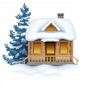 Cute wooden house in snow. Vector image.