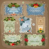 stock photo of christmas bells  - Christmas vintage labels set - JPG