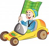 image of karts  - Boy in a Go Kart with a Green Flag vector illustration - JPG