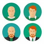 Flat male faces. Vector circle icons