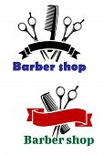 Barber Shop signs with blank banners