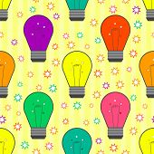 Vector seamless pattern with light bulb in flat style