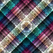 Cross-stitch on geometric abstract pattern.