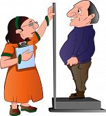 foto of measuring height  - Lady Measuring a Man - JPG