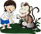 Vector Of Girl Giving Banana To Monkey.