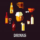 picture of milk glass  - Drinks and beverages flat icons showing silhouettes of a wine bottle and glass - JPG