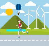 Running woman outdoors