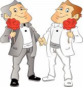 Vector Of Two Men Holding Red Rose.