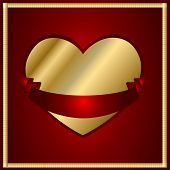Maroon And Gold Heart With A Ribbon