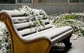 stock photo of sag  - Old style bench and flowers in city park in snowfall