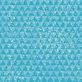 Tech blue on abstract geometric background with snowflakes
