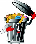 Vector Of Overloaded Dustbin Holding Lid.